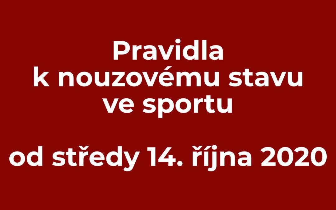 Pravidla k nouzovému stavu ve sportu od středy 14. října